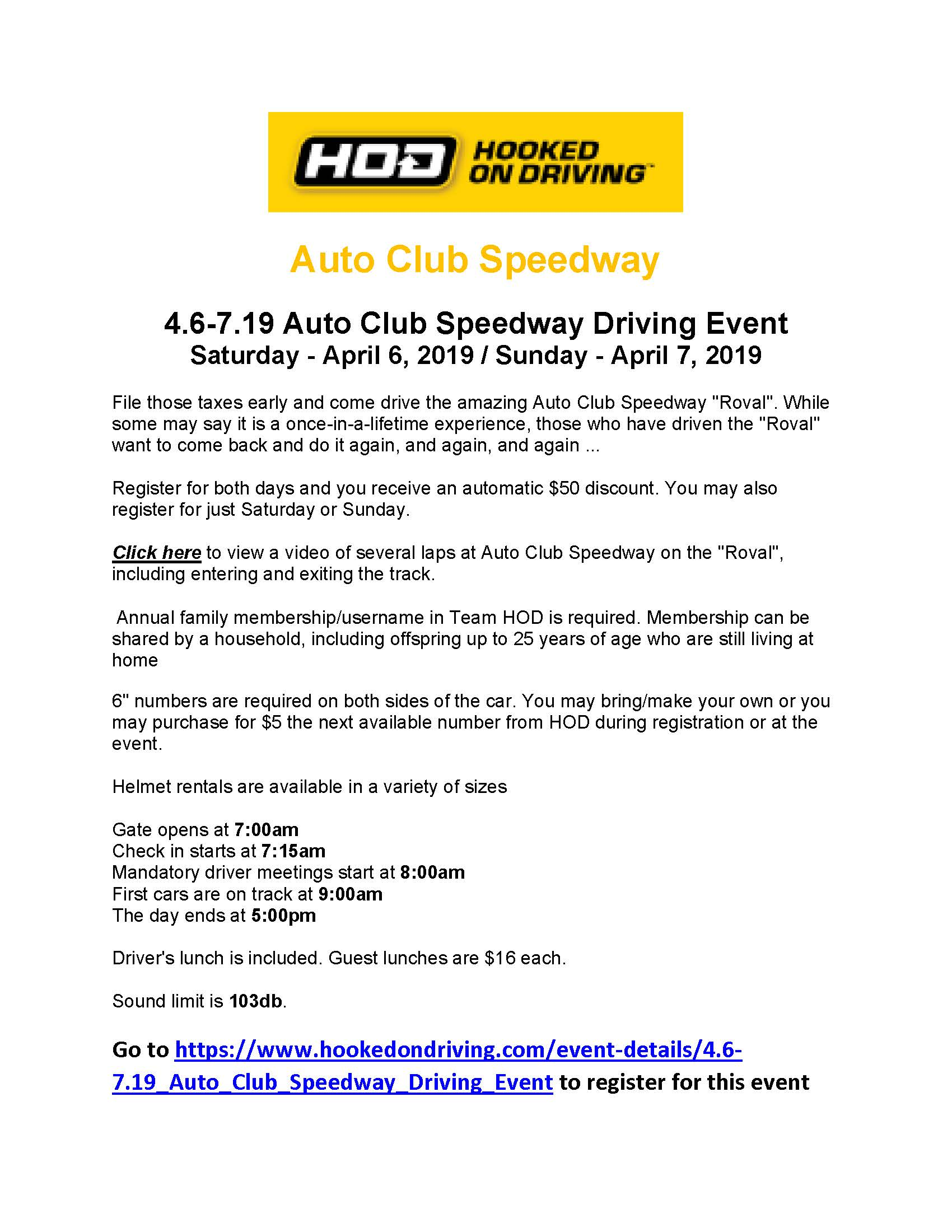 HOD presents Auto Club Speedway Driving Event – Fontana – Western